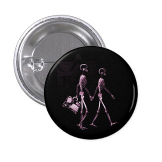 Couple Traveling X-Ray Vision Skeletons - Pink Pin