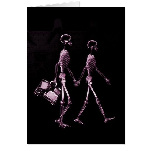 Couple Traveling X-Ray Vision Skeletons - Pink Card