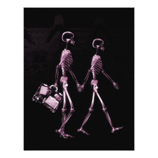 Couple Traveling X-Ray Vision Skeletons - Pink Flyer