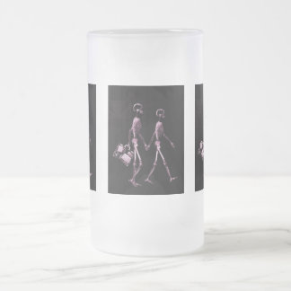 Couple Traveling X-Ray Vision Skeletons - Pink Frosted Glass Beer Mug