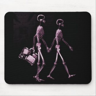 Couple Traveling X-Ray Vision Skeletons - Pink Mouse Pad
