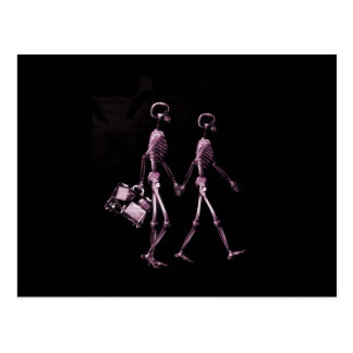 Couple Traveling X-Ray Vision Skeletons - Pink Postcard