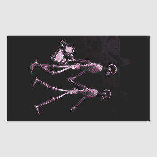 Couple Traveling X-Ray Vision Skeletons - Pink Rectangular Sticker