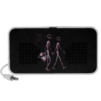 Couple Traveling X-Ray Vision Skeletons - Pink iPod Speakers