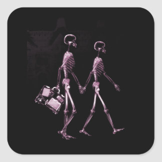Couple Traveling X-Ray Vision Skeletons - Pink Square Sticker