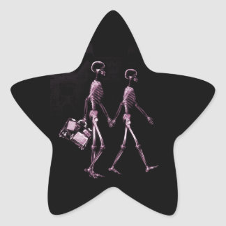 Couple Traveling X-Ray Vision Skeletons - Pink Star Sticker