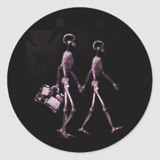 Couple Traveling X-Ray Vision Skeletons - Pink Round Sticker