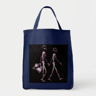 Couple Traveling X-Ray Vision Skeletons - Pink Tote Bag