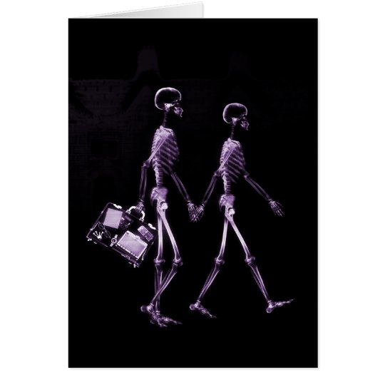 Couple Traveling X-Ray Vision Skeletons - Purple Card