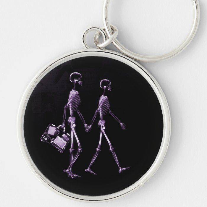 Couple Traveling X-Ray Vision Skeletons - Purple Keychain