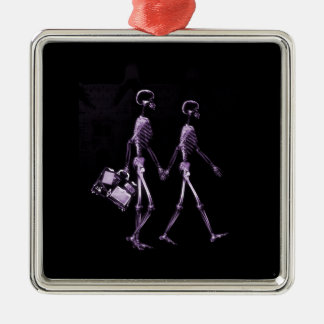 Couple Traveling X-Ray Vision Skeletons - Purple Metal Ornament