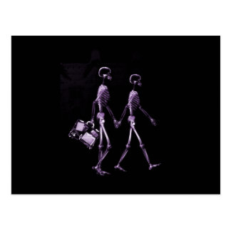 Couple Traveling X-Ray Vision Skeletons - Purple Postcard