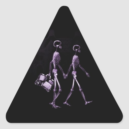 Couple Traveling X-Ray Vision Skeletons - Purple Triangle Sticker