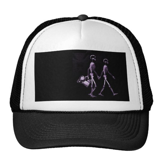 Couple Traveling X-Ray Vision Skeletons - Purple Trucker Hat