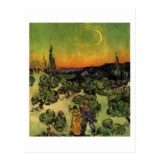 Couple Walking Crescent Moon, Van Gogh Fine Art Postcard