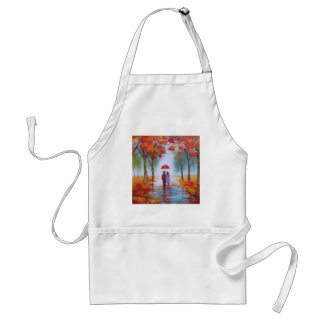 Couple walking in a forest autumn rainy day adult apron