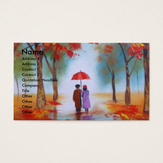 Couple walking in a forest autumn rainy day business card