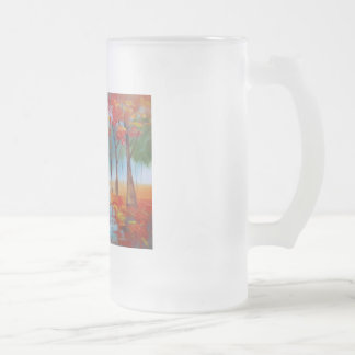 Couple walking in a forest autumn rainy day glass beer mugs