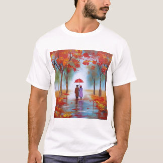 Couple walking in a forest autumn rainy day T-Shirt