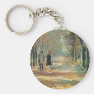 Couple walking in the woods by Lesser Ury Keychains