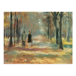 Couple walking in the woods by Lesser Ury Postcard