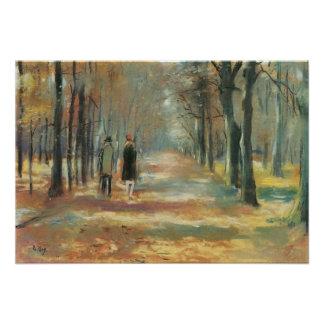 Couple walking in the woods by Lesser Ury Poster