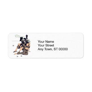 couple wearing gas maskes return address label