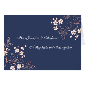 Couple Wedding Congratulations Card Blue Floral