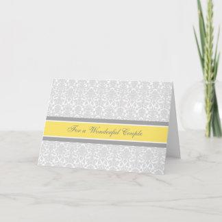 Couple Wedding Congratulations Card Lemon Gray