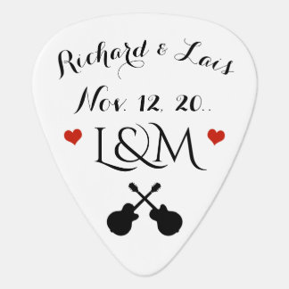 couple wedding date / his & her /  personalized guitar pick