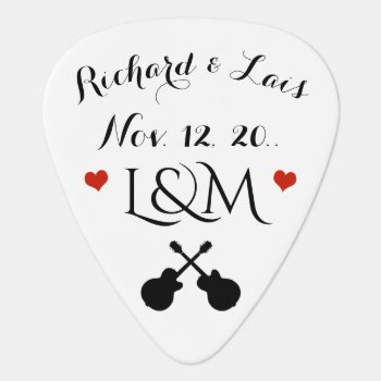 Couple Wedding Date / His & Her /  Personalized Guitar Pick by mixedworld at Zazzle