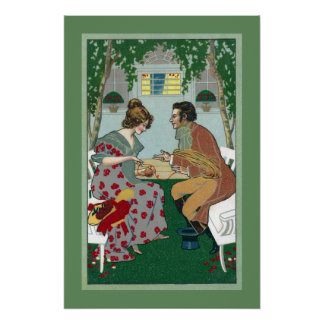 Couple Winding Yarn Together Vintage Art Nouveau Poster