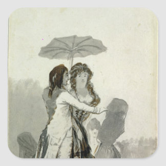 Couple with a Parasol Square Sticker