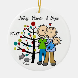 Couple With Baby Boy and Cat Custom Ornament