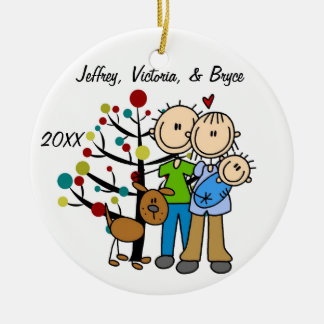 Couple With Baby Boy and Dog Custom Ornament