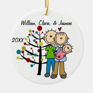 Couple With Baby Girl Custom Holiday Ornament