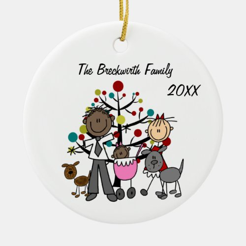 Couple with Baby Girl Two Dogs Ceramic Ornament
