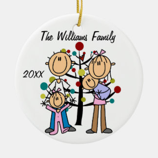 Couple With Girl, Baby Boy Custom Holiday Ornament