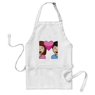 Couple With Heart Emoji Adult Apron