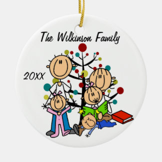 Couple With Two Girls, Boy Custom Holiday Ornament