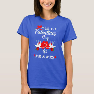 Couples1st Valentines Day As Mr & Mrs Love Hearts T-Shirt
