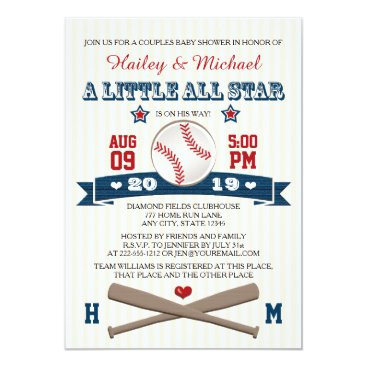 Valentines Themed COUPLES ALL STAR BASEBALL BABY SHOWER INVITATION