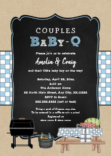 couples baby q boy bbq baby shower invitation