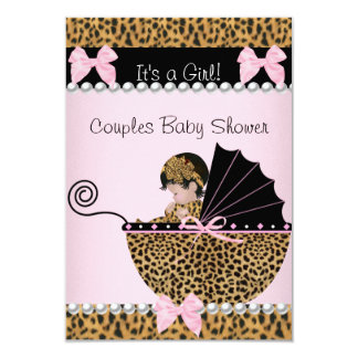 Couples Baby Shower Cute Girl Pink Leopard 3.5x5 Paper Invitation Card