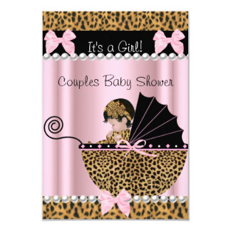 "Couples Baby Shower Cute Girl Pink Leopard 3.5"" X 5"" Invitation Card"