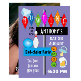 Couples Baby Shower Dad-chelor Retro Bowling Party Card
