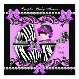 Couples Baby Shower Girl Zebra Purple Card