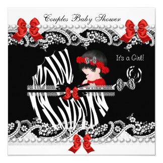 Couples Baby Shower Girl Zebra Red Lace Black Card