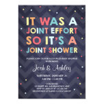 Funny Joint Effort Couples Baby Shower Invitation (Chevron & Dots)