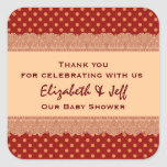 Couples Baby Shower Thank You Gold Polka Dot Square Stickers